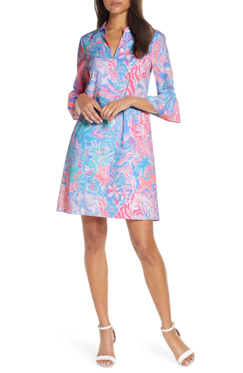 LILLY PULITZER<SUP>®</SUP> Ginger Floral Print Stretch Cotton Shift Dress, Main, color, BLUE PERI VIVA LA LILLY