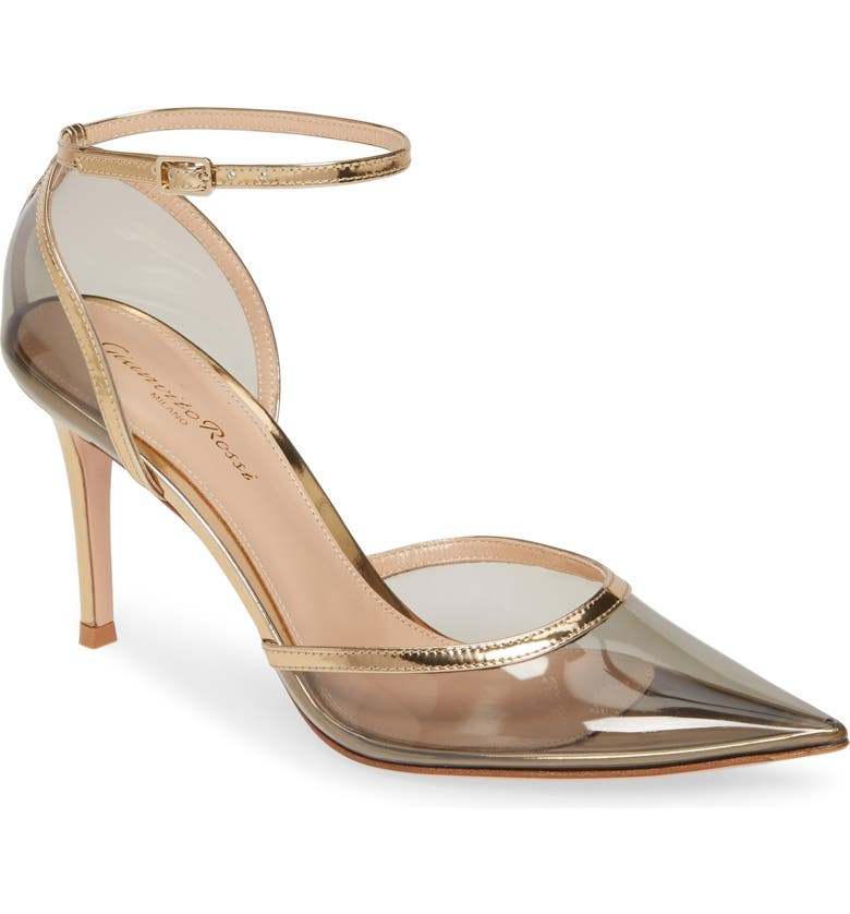 GIANVITO ROSSI PVC Ankle Strap Pump, Main, color, FUME/ MEKONG
