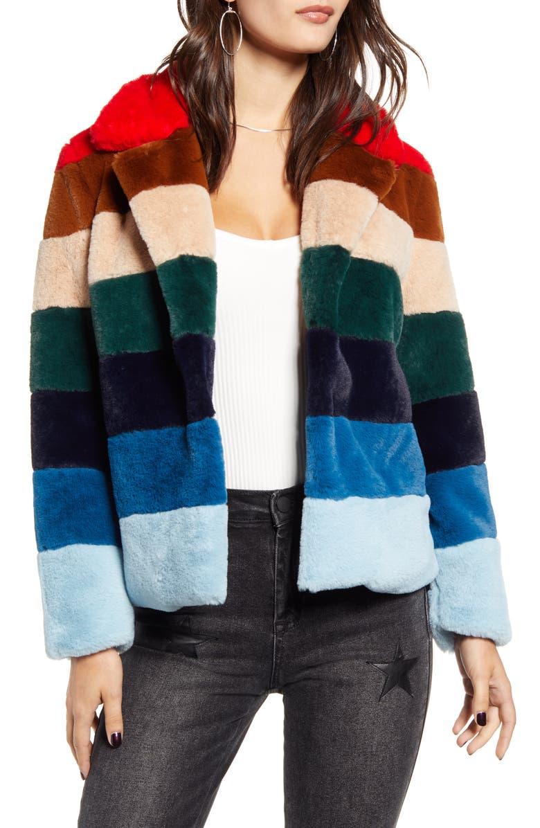 BLANKNYC Stripe Faux Fur Jacket, Main, color, 600