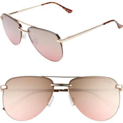 Quay Australia The Playa Mini 5m Aviator Sunglasses - Gold/ Brown Pink Flash
