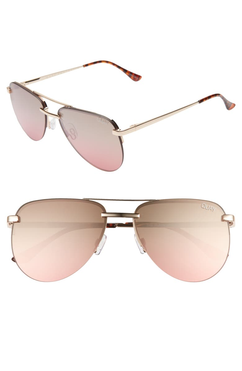 QUAY AUSTRALIA The Playa Mini 54mm Aviator Sunglasses, Main, color, GOLD/ BROWN PINK FLASH