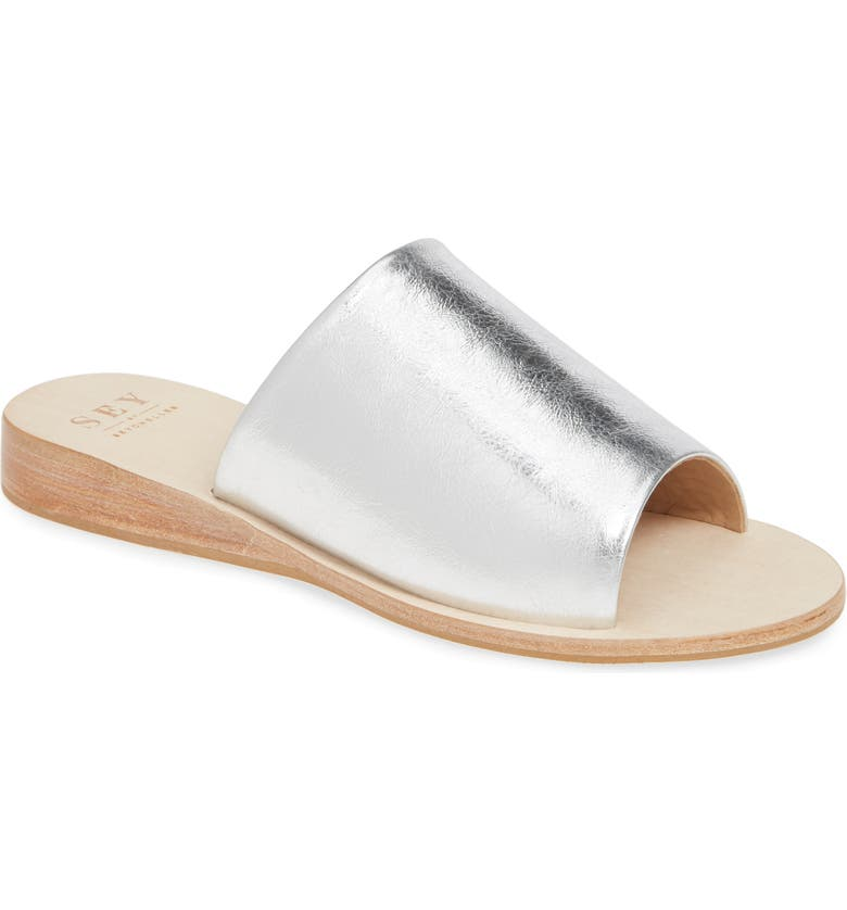 SEYCHELLES Stanza Slide Sandal, Main, color, SILVER METALLIC LEATHER