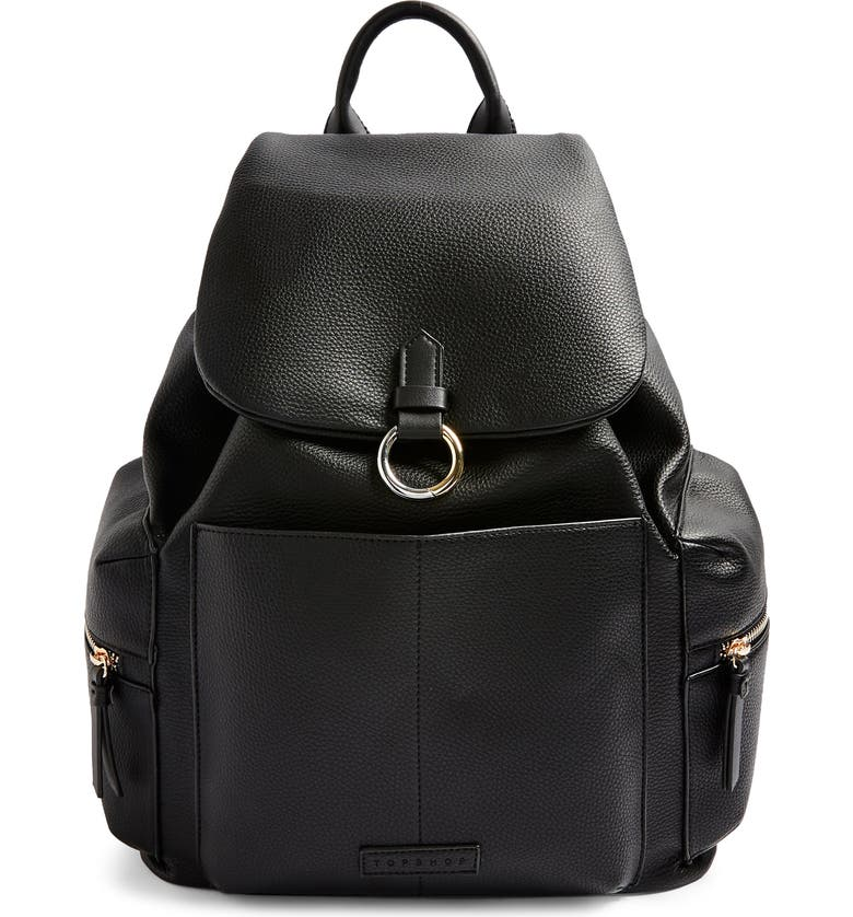 TOPSHOP Betty Faux Leather Backpack, Main, color, BLACK