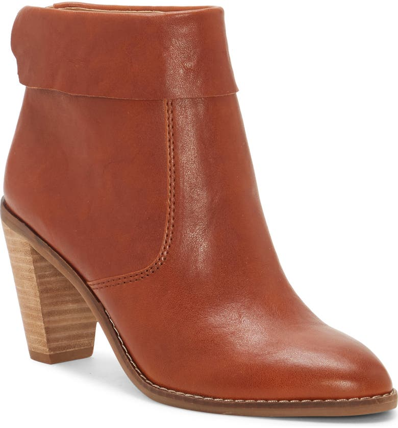 LUCKY BRAND Nycott Leather Bootie, Main, color, WHISKEY LEATHER