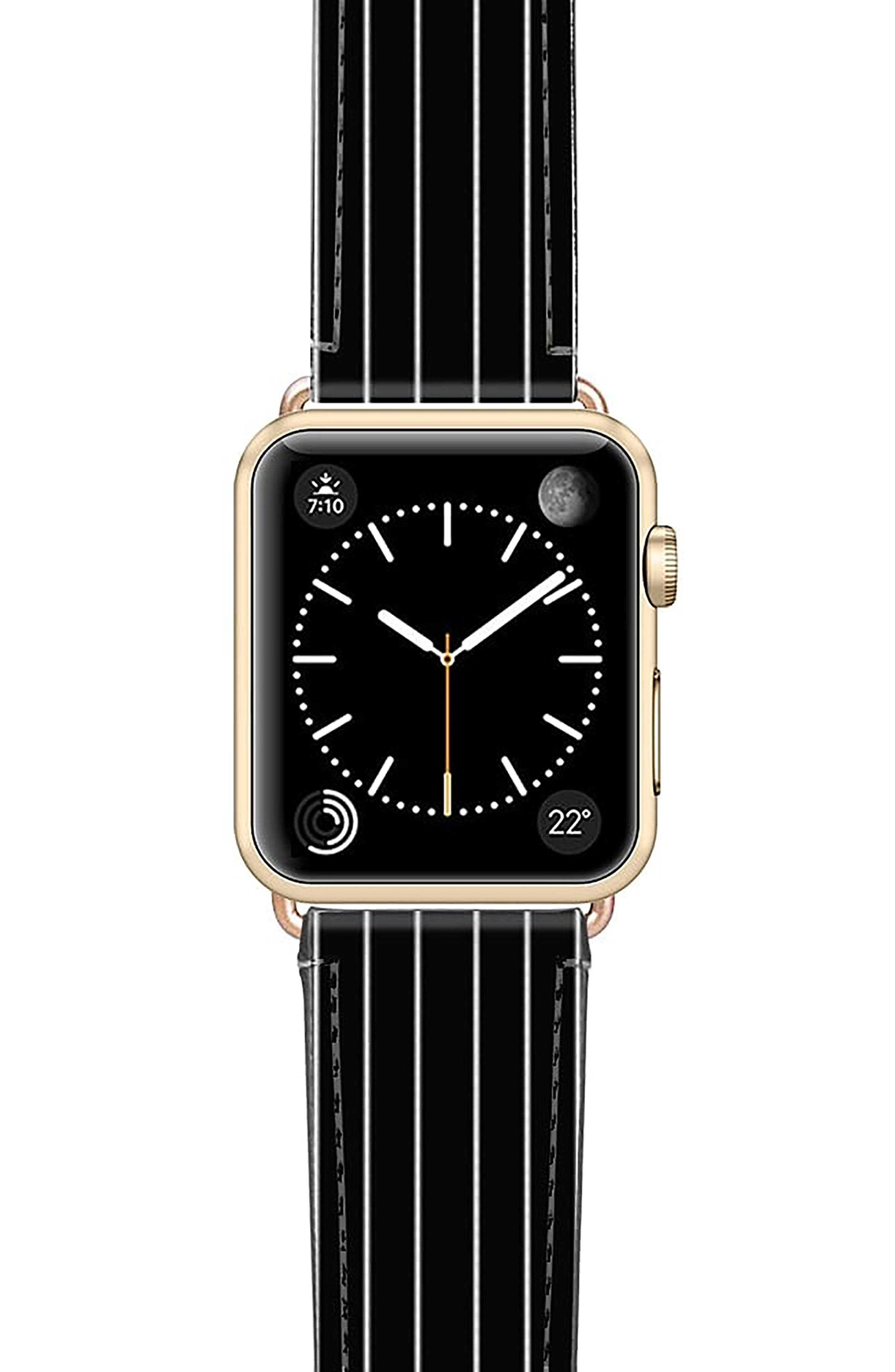 Black Stripe Saffiano Faux Leather Apple Watch Strap