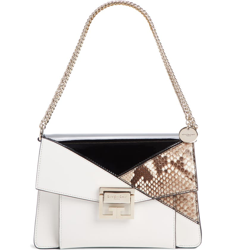 GIVENCHY Small GV3 Patchwork Leather Crossbody Bag, Main, color, WHITE/ BLACK