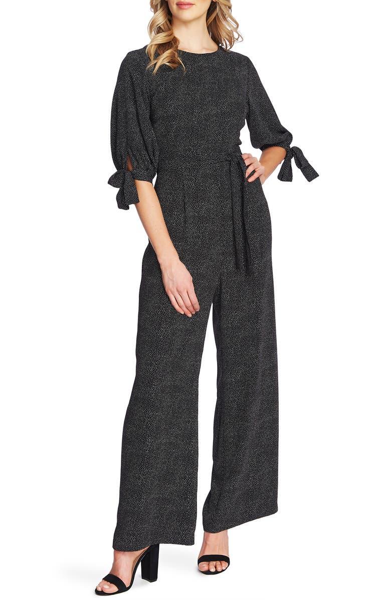 CECE Puff Sleeve Cosmic Dot Jumpsuit, Main, color, RICH BLACK