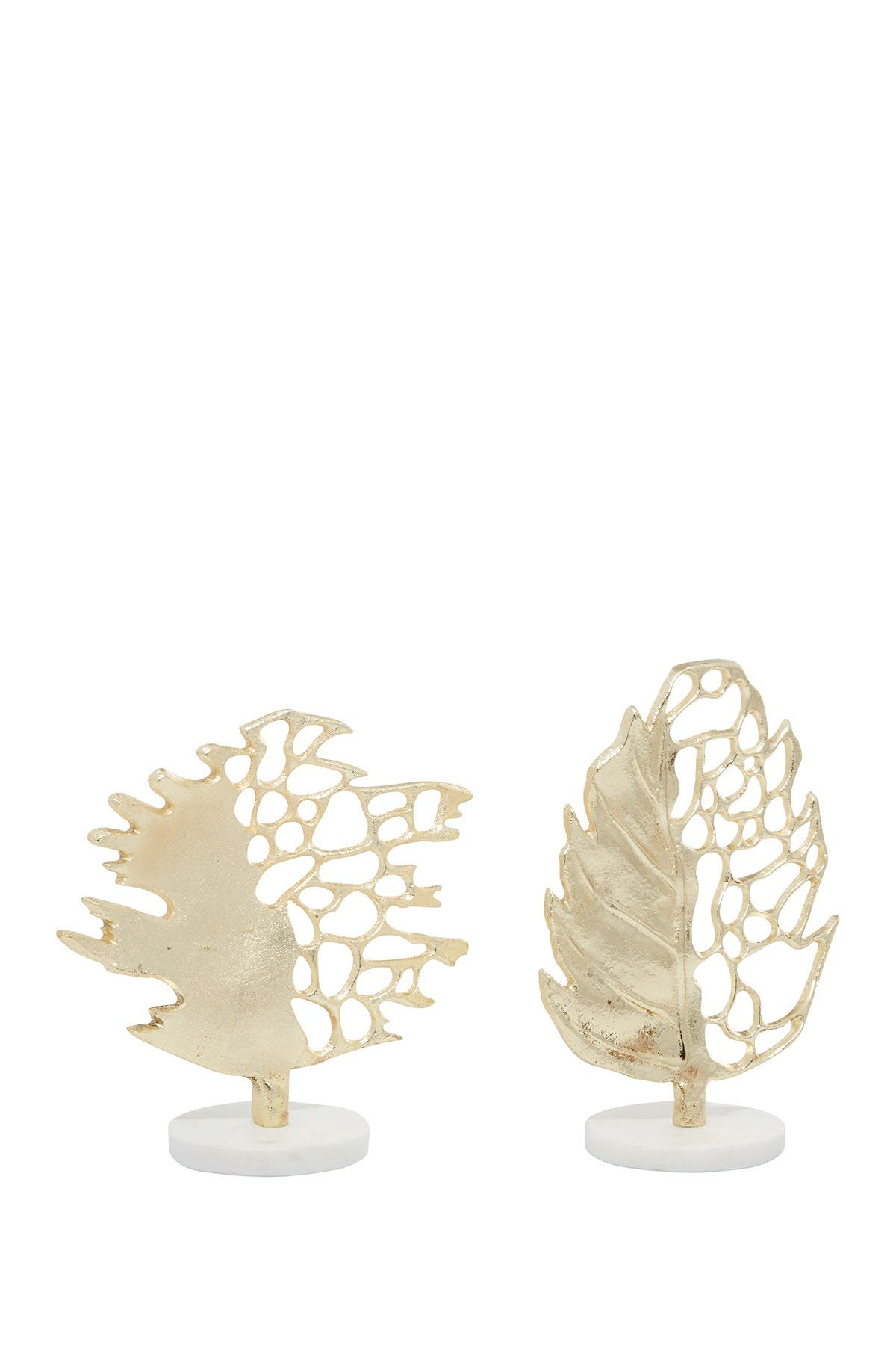 Image of Willow Row Gold Aluminum Glam Leaf Sculpture - Set of 2