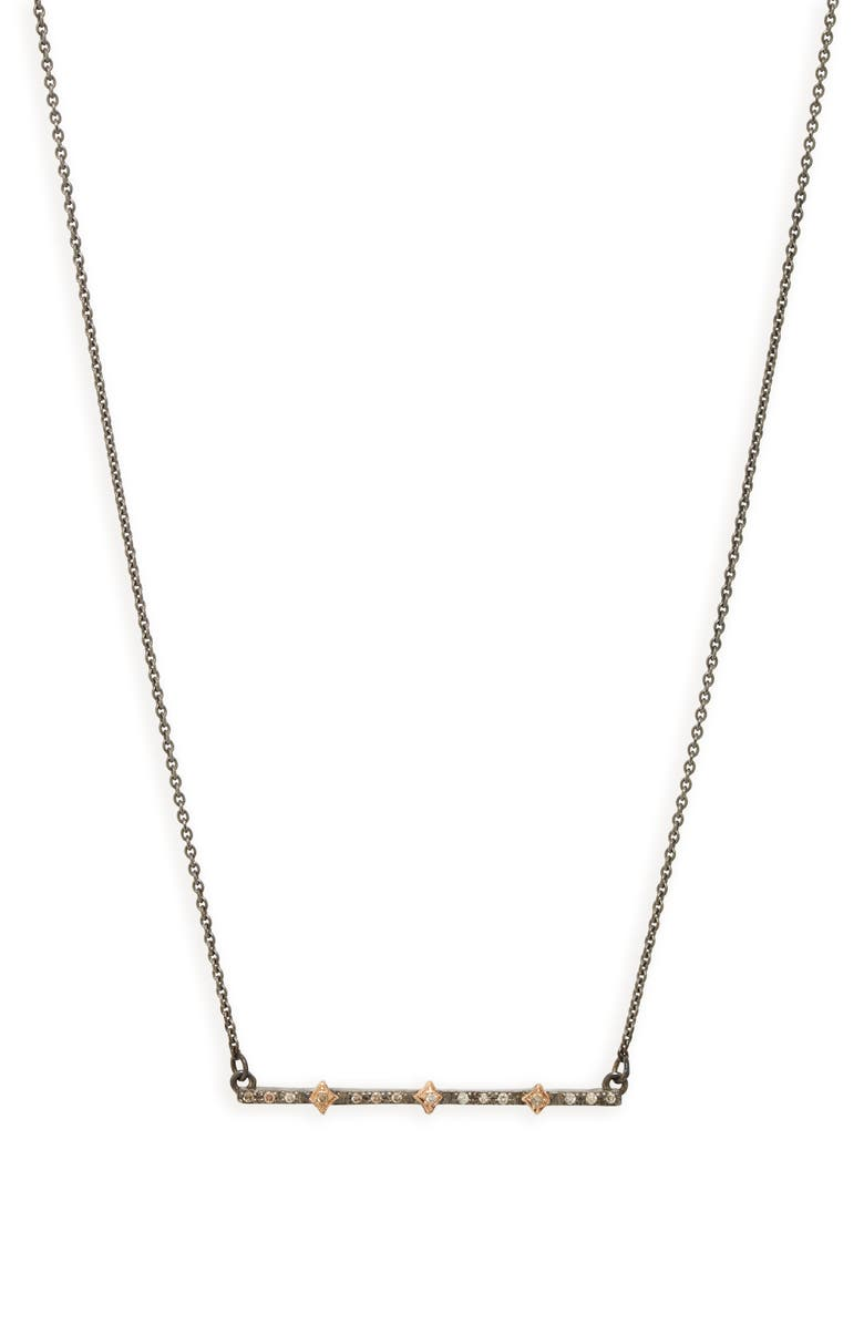 ARMENTA New World Multi Crivilli Diamond Bar Necklace, Main, color, BLACKENED SILVER/ GOLD