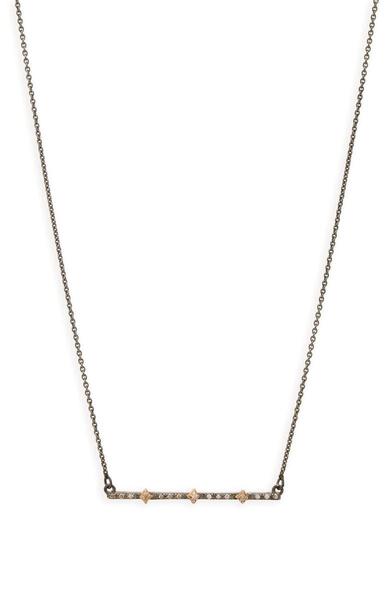 ARMENTA New World Multi Crivilli Diamond Bar Necklace, Main, color, BLACKENED SILVER/ GOLD