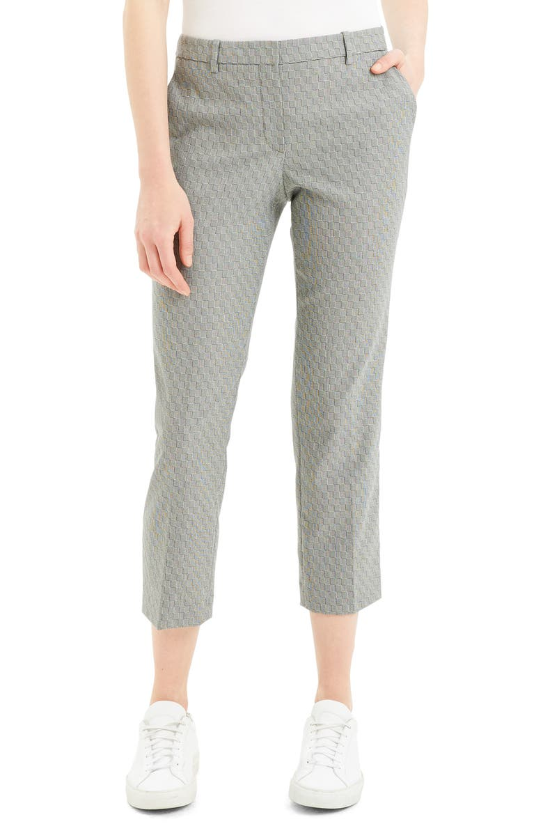 THEORY Textured Check Crop Wool Blend Trousers, Main, color, BLACK/ IVORY