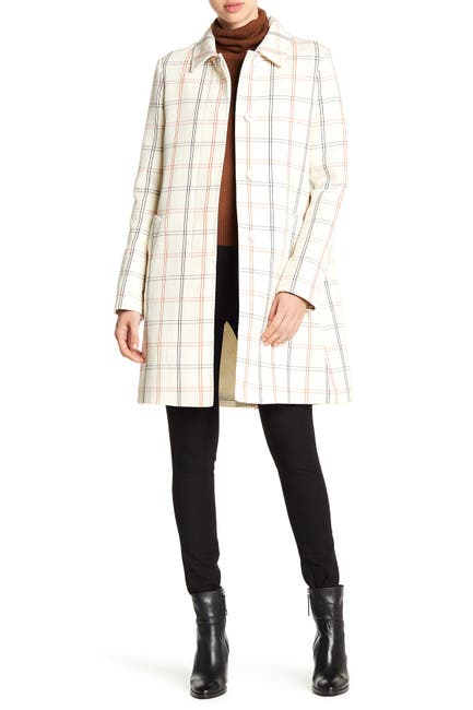 Image of Theory Bozetta Checkered Plaid Wool Coat