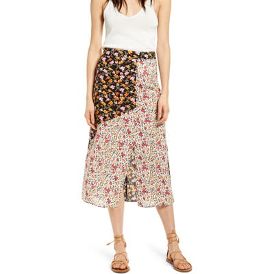 Know One Cares Mixed Floral Print Midi Skirt, White
