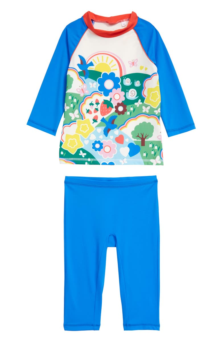 MINI BODEN Boden Rashguard & Swim Pants Set, Main, color, FUN GARDEN SCENE