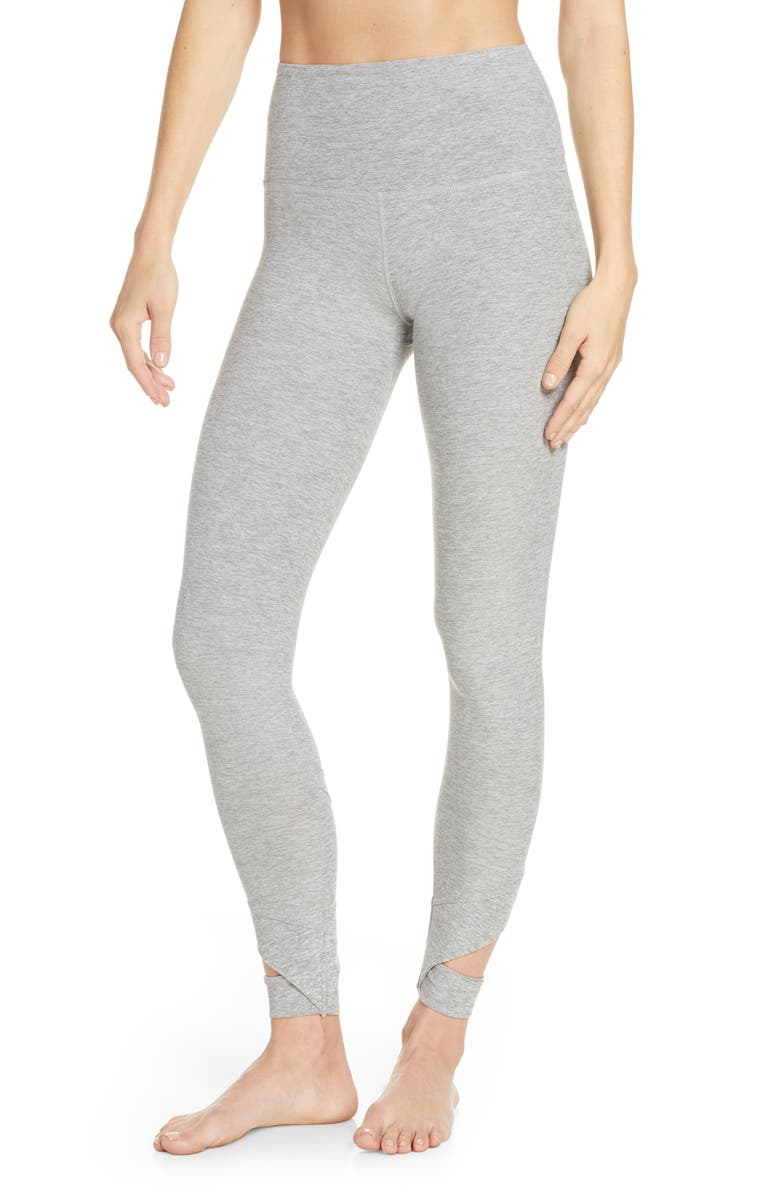 BEYOND YOGA Set the Bar Space Dye High Waist Midi Leggings, Main, color, SILVER MIST
