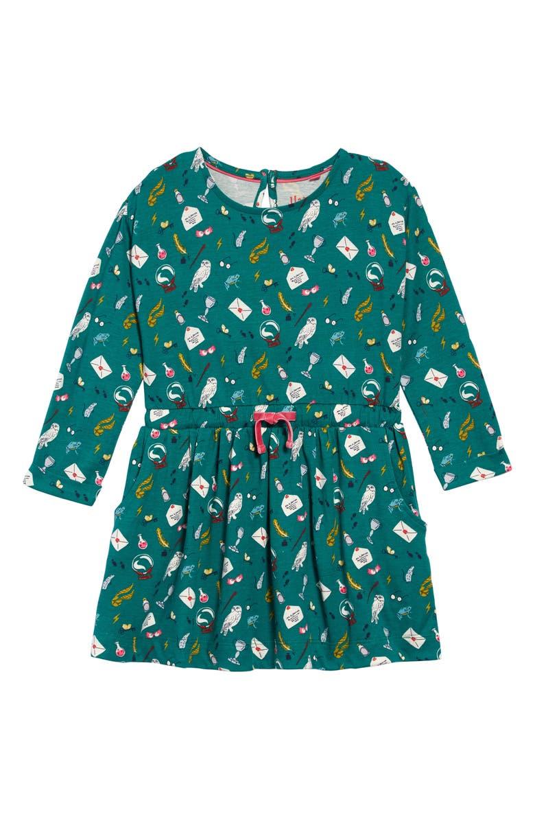 MINI BODEN Harry Potter Print Dress, Main, color, MOUNTAIN MEADOW GREEN