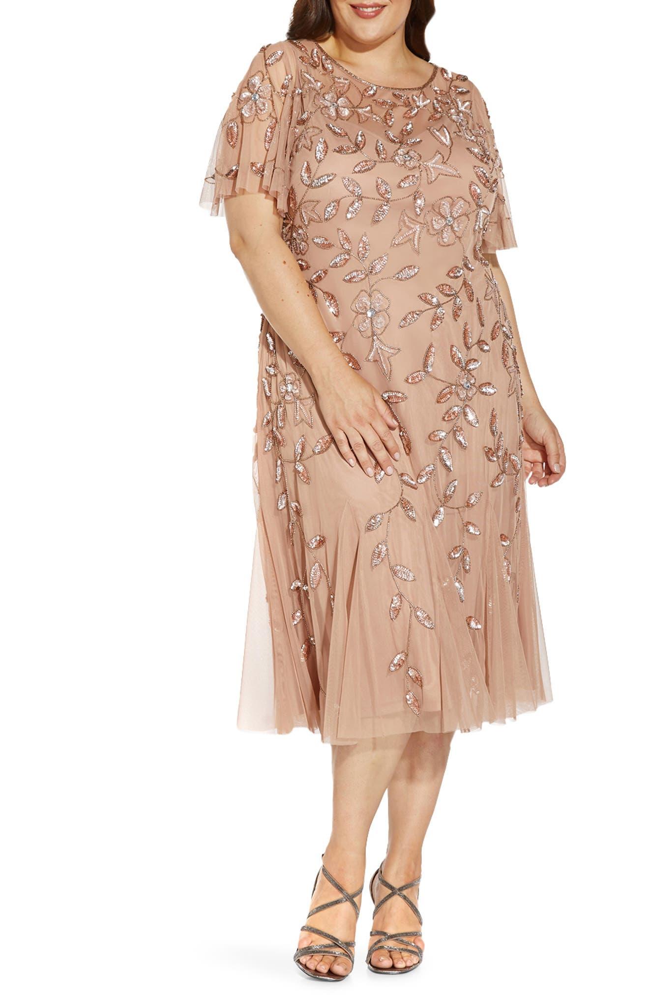 Charleston Dress: Fringe Flapper Dress Plus Size Womens Adrianna Papell Beaded Mesh Cocktail Dress Size 14W - Coral $299.00 AT vintagedancer.com
