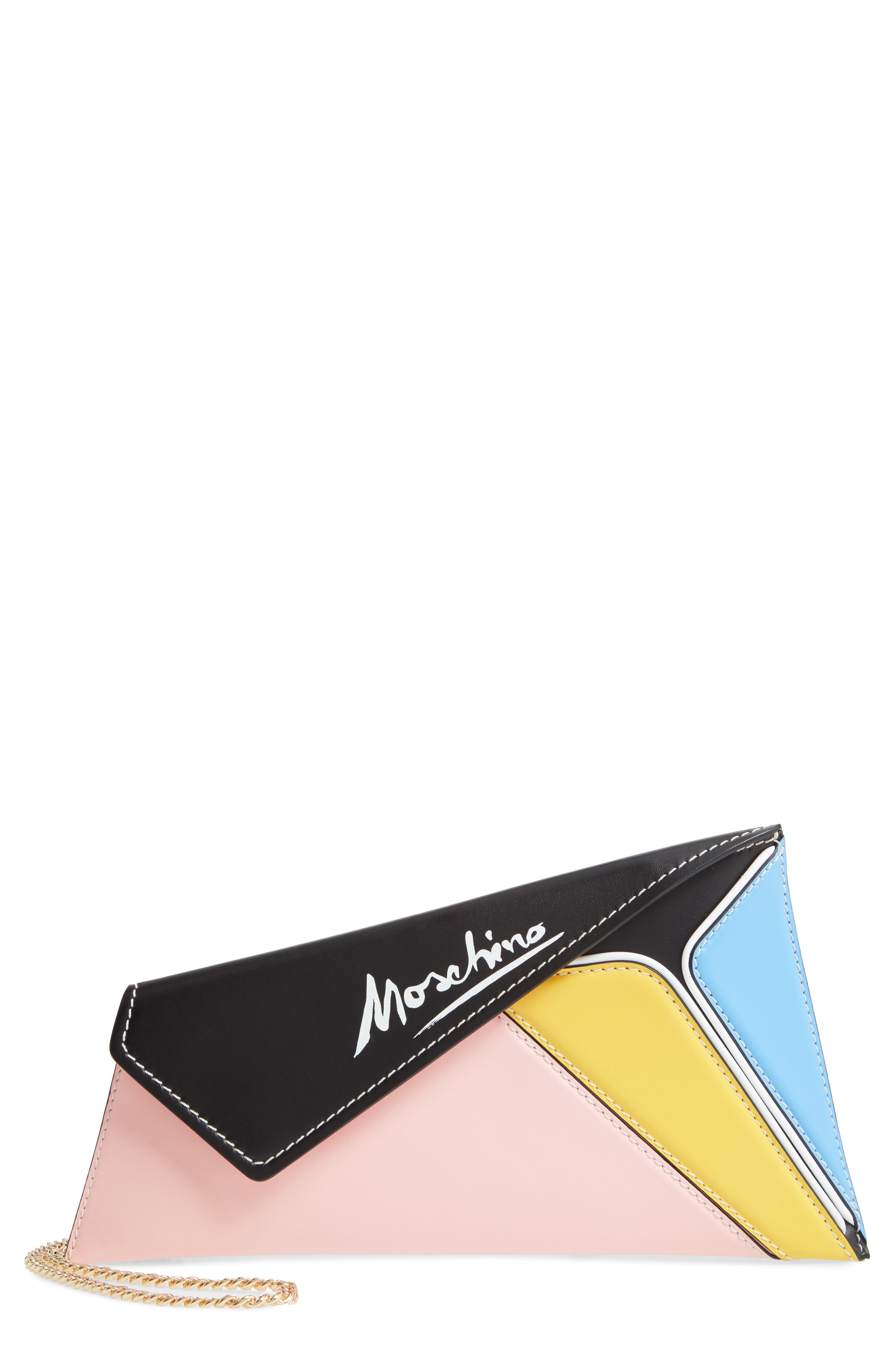 Jeremy Scott puts an artful slant on this color-blocked leather clutch inspired by the cubist work of Pablo Picasso. A signed flap makes it feel like a true masterpiece. Style Name: Moschino Patchwork Leather Clutch. Style Number: 5990810. Available in stores.