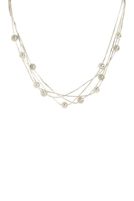 Image of Savvy Cie Italian Rhodium Plated Multi Strand Beaded Necklace
