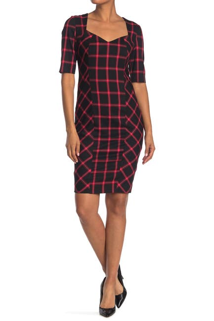 Image of Trina Turk Geometric V-Neck Pagoda Plaid Chiyah Dress