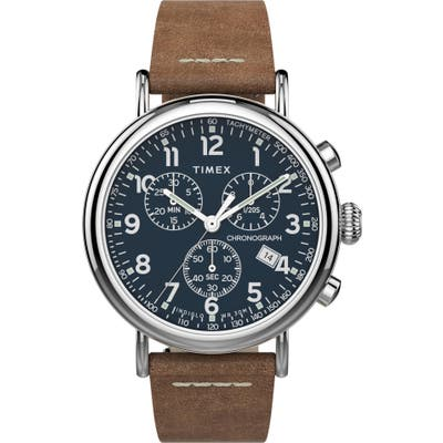 Timex Waterbury Standard Chronograph Leather Strap Watch, 41mm