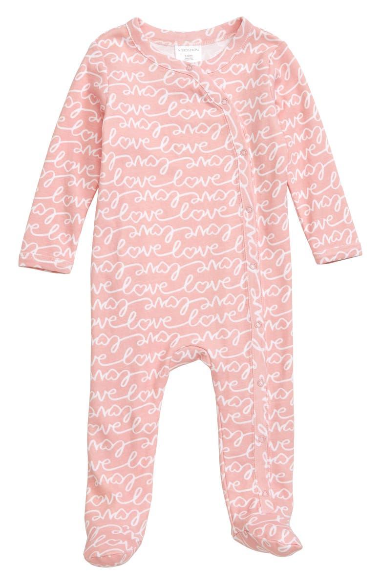 NORDSTROM BABY Print Footie, Main, color, PINK SILVER LOVE