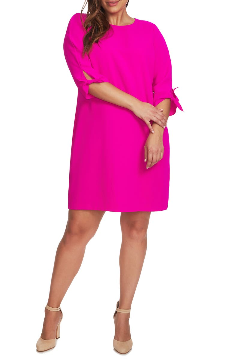 CECE Tie Sleeve Shift Dress, Main, color, HOT MAGENTA
