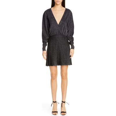 Cushnie Metallic Long Sleeve Blouson Minidress, Black