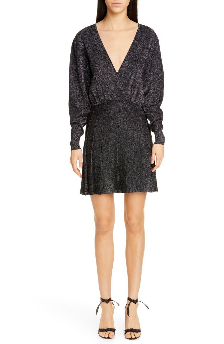 CUSHNIE Metallic Long Sleeve Blouson Minidress, Main, color, BLACK