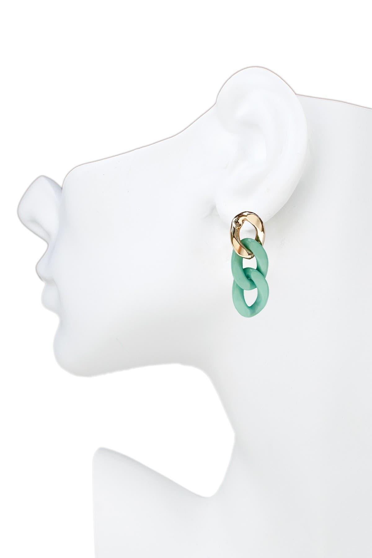 Image of Jardin Colorblock Curb Chain Link Drop Earrings