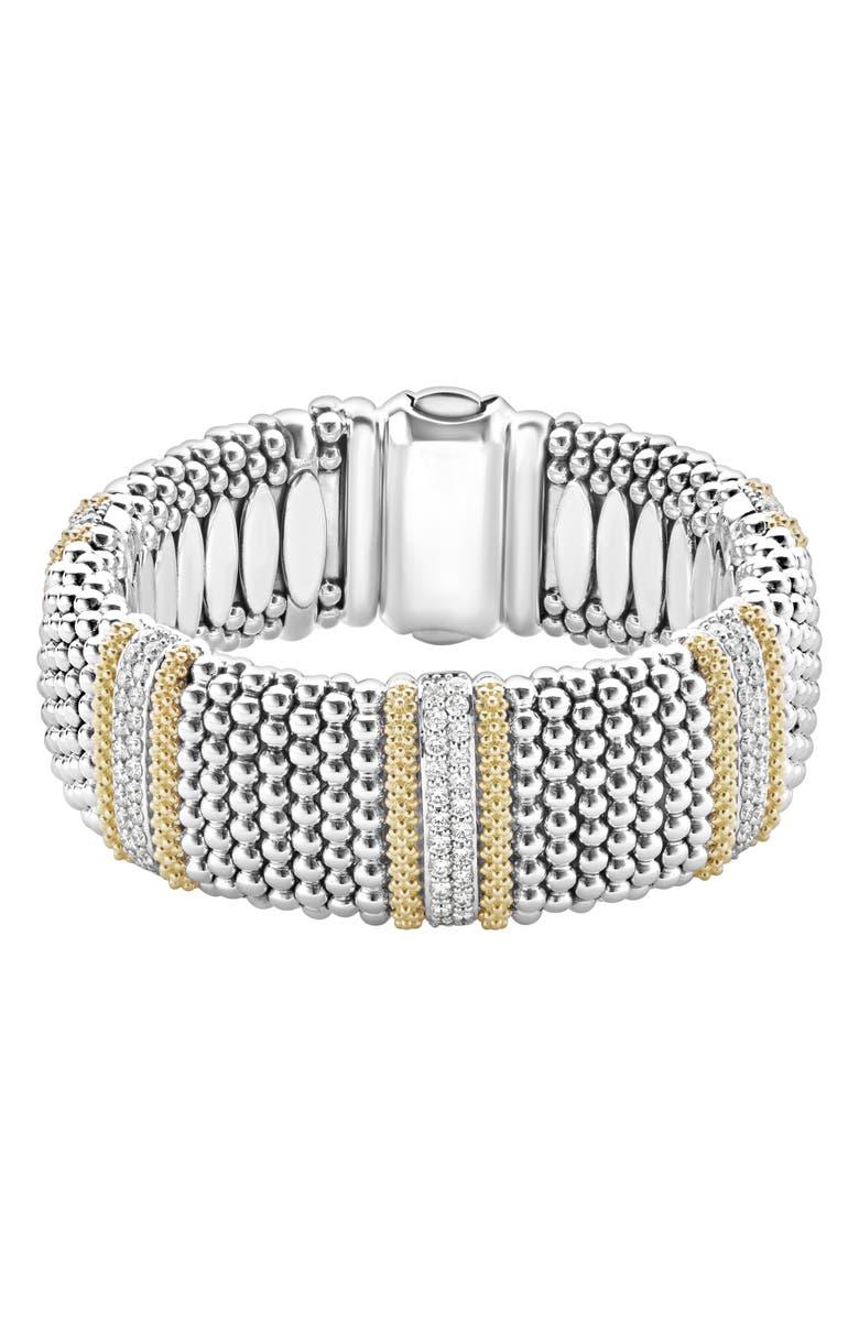 LAGOS Diamond Lux Pavé Station Rope Bracelet, Main, color, SILVER/ DIAMOND