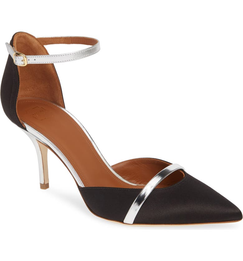 MALONE SOULIERS Booboo Ankle Strap Pump, Main, color, BLACK/ SILVER