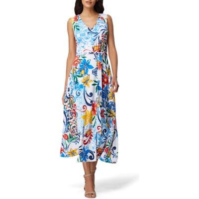 Tahari Floral Crepe Midi Dress, Blue