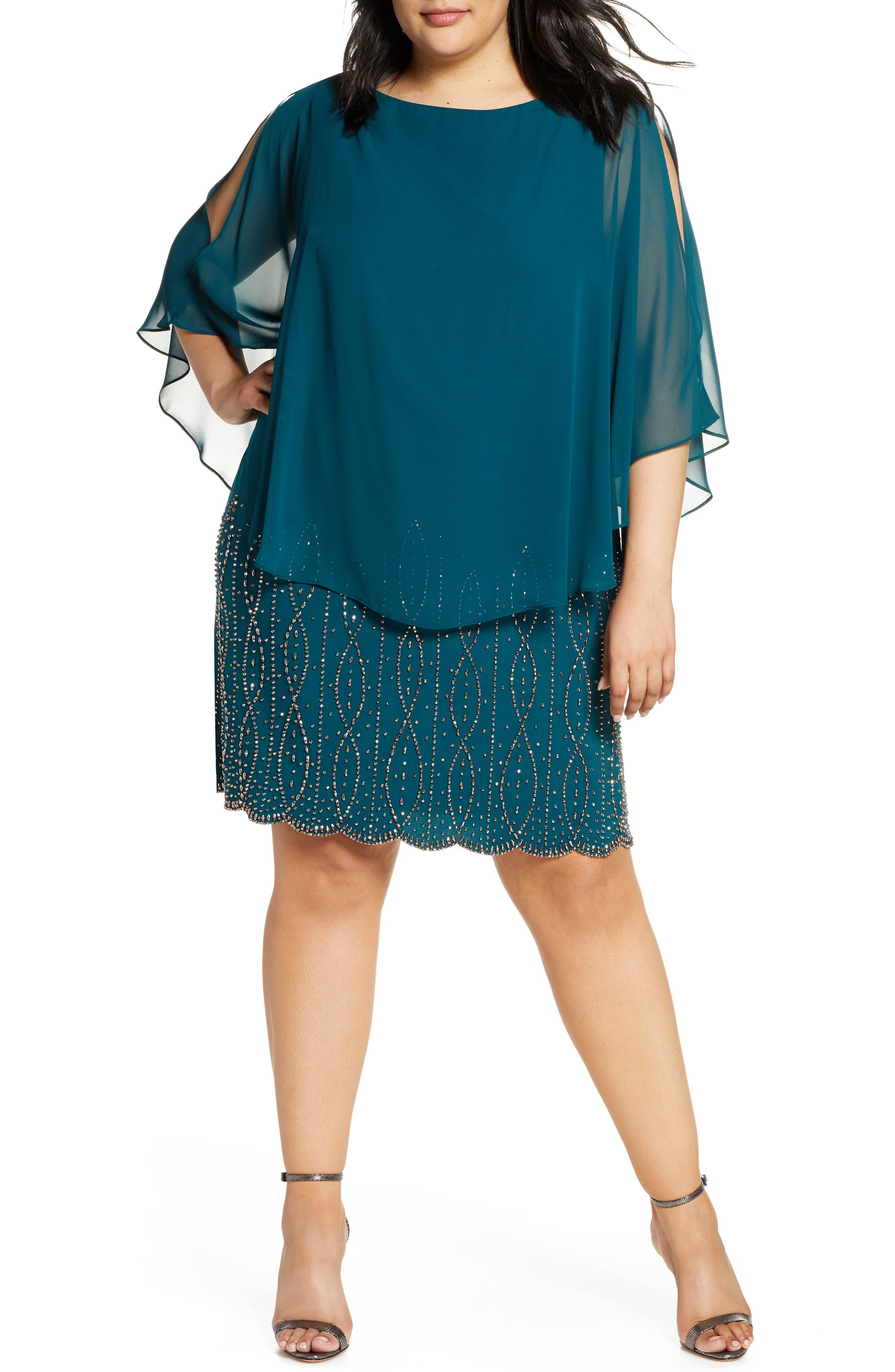 Plus Size Xscape Chiffon Cape Sleeve Cocktail Dress, Green