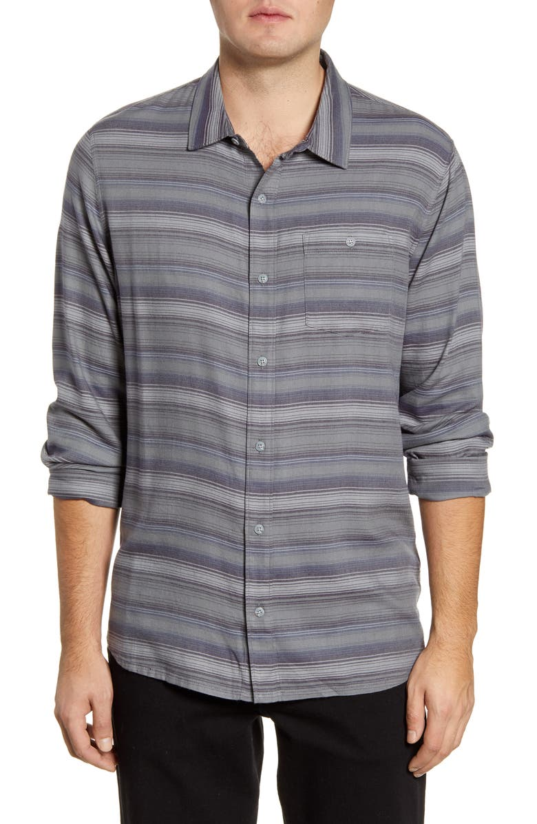 TRAVISMATHEW Night and Day Regular Fit Stripe Button-Up Shirt, Main, color, NIGHTSHADE