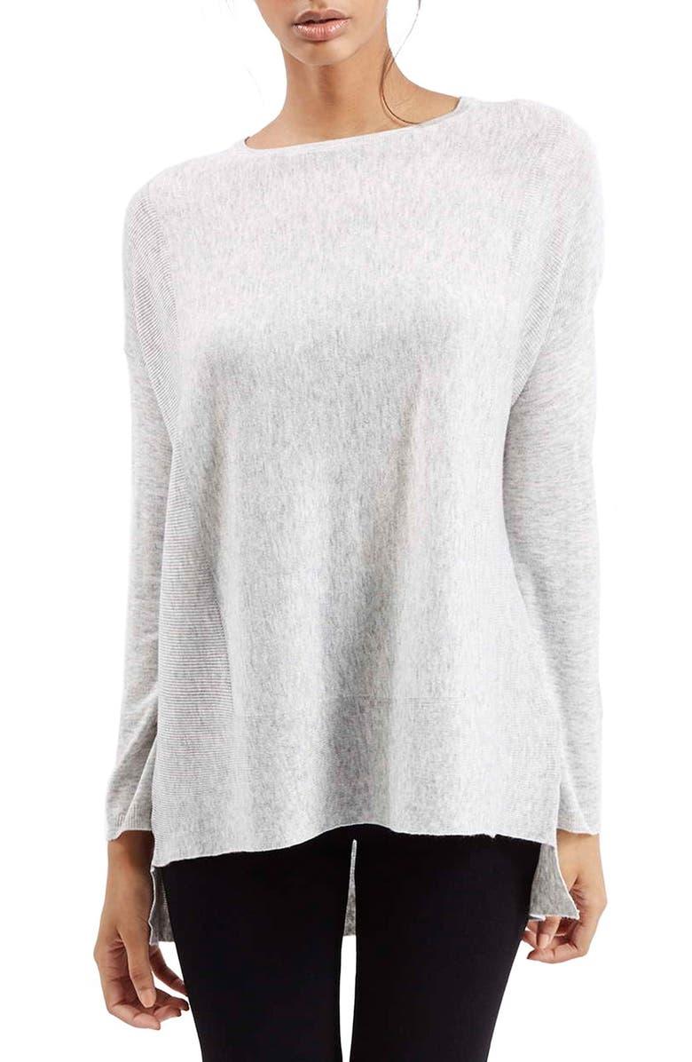 TOPSHOP Ribbed Border Sweater, Main, color, 050