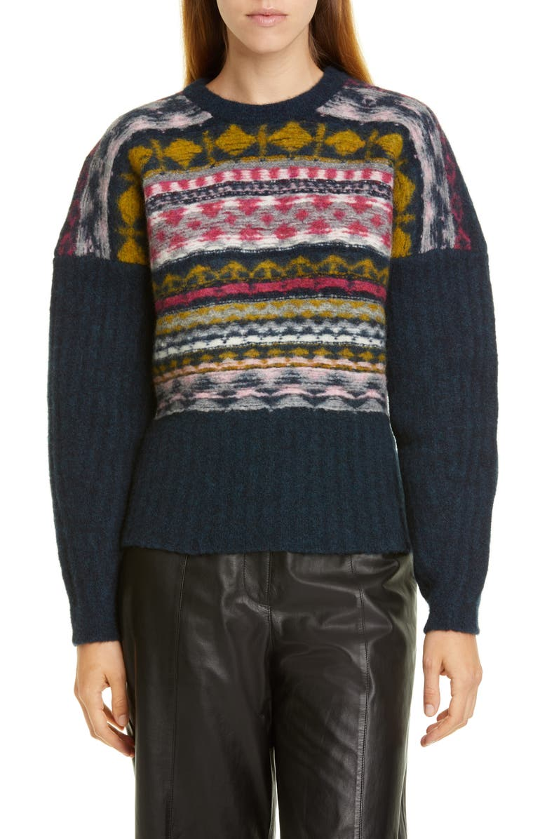 JASON WU Fair Isle Merino Wool Blend Sweater, Main, color, 005