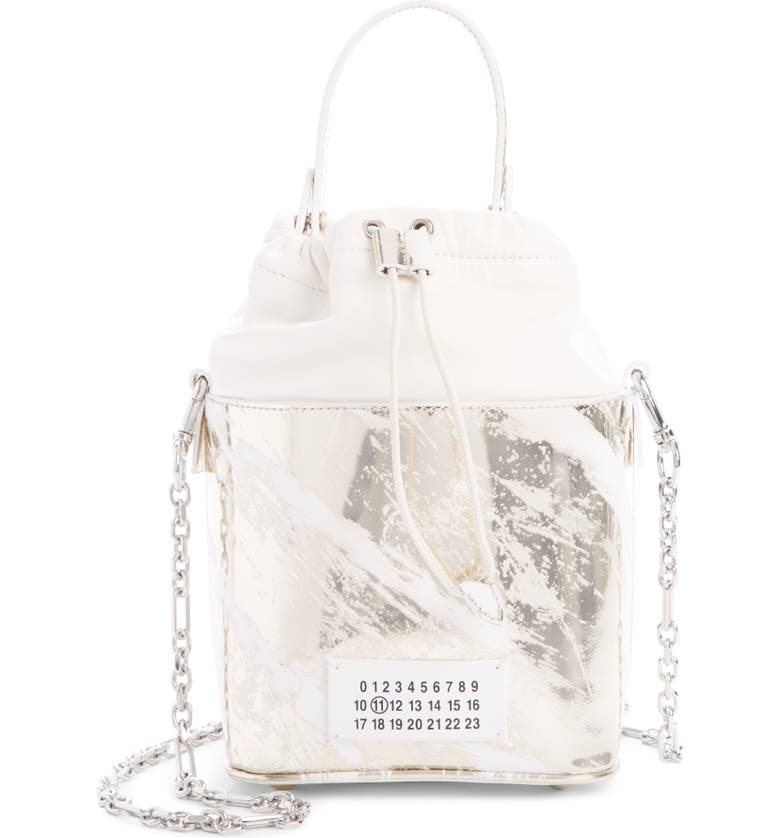 MAISON MARGIELA 5AC Painted Bucket Bag, Main, color, PLATINO / WHITE