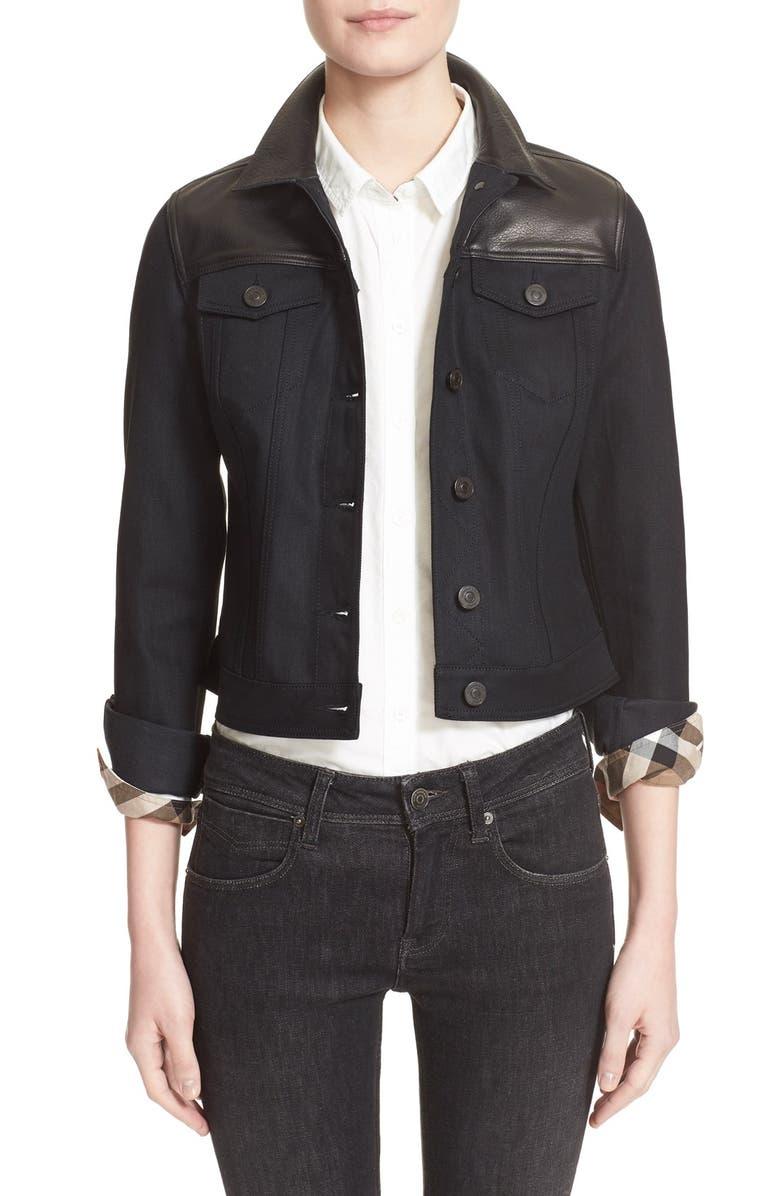 BURBERRY BRIT Leather & Denim Jacket, Main, color, 001