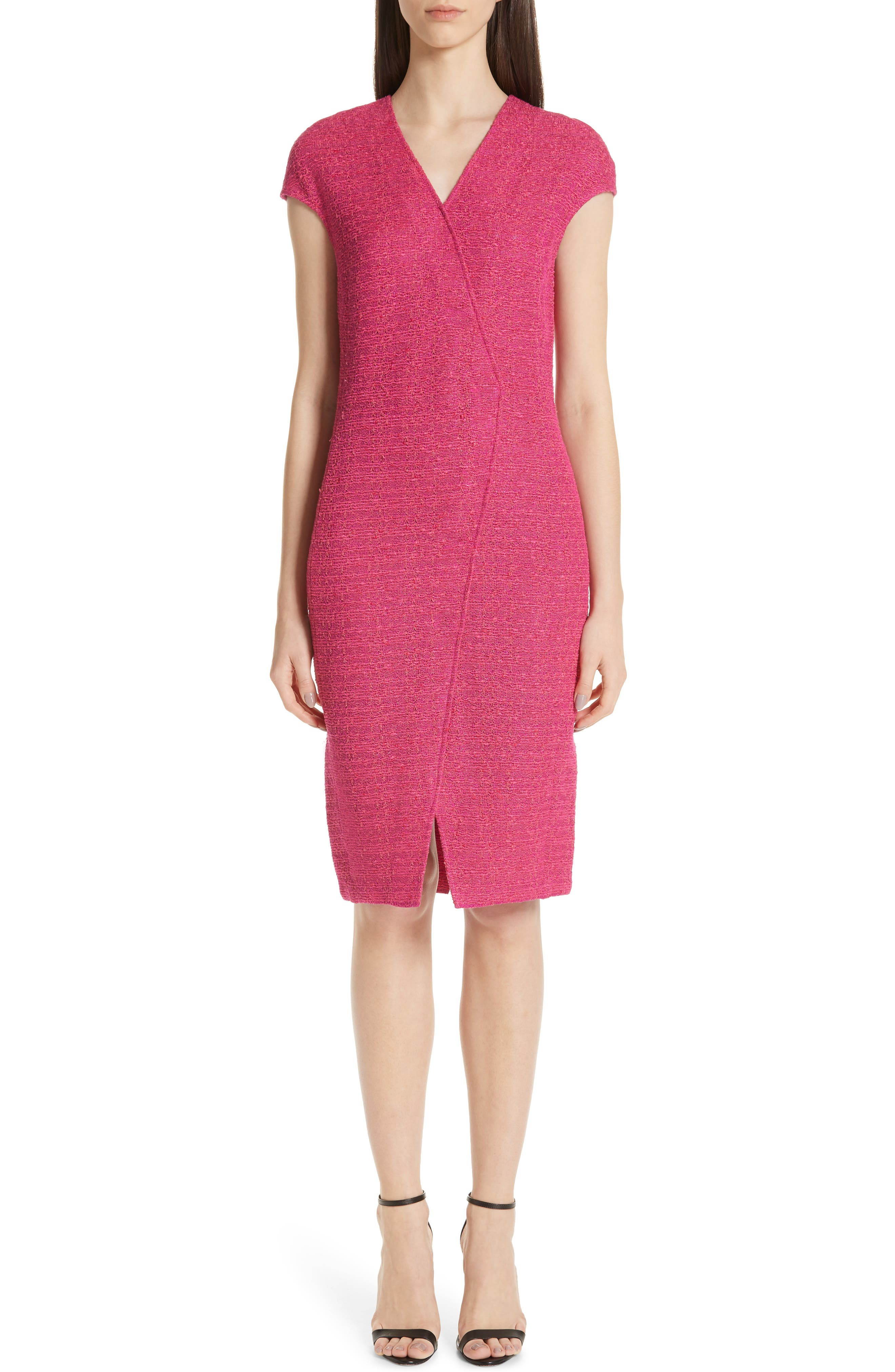 St. John Collection Andrea Knit Cap Sleeve Dress, Pink