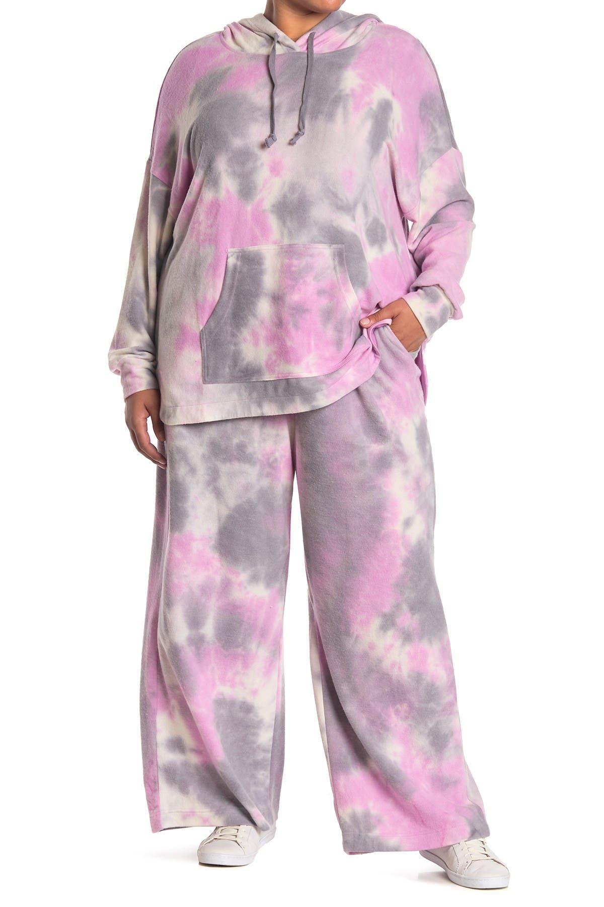 Image of MELLODAY Brushed Tie Dye Wide Leg Pants