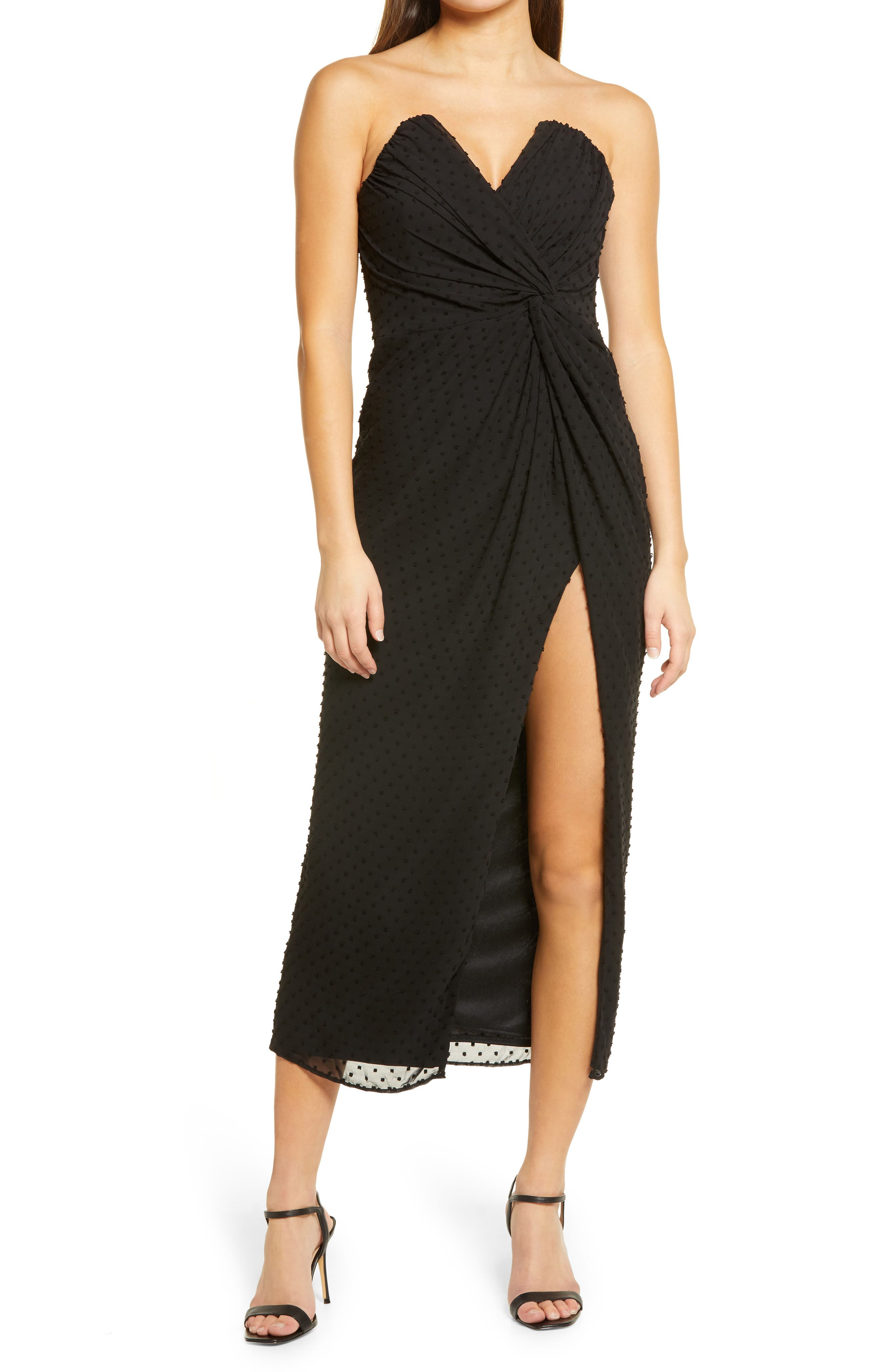 Come On Home Clip Dot Strapless Dress