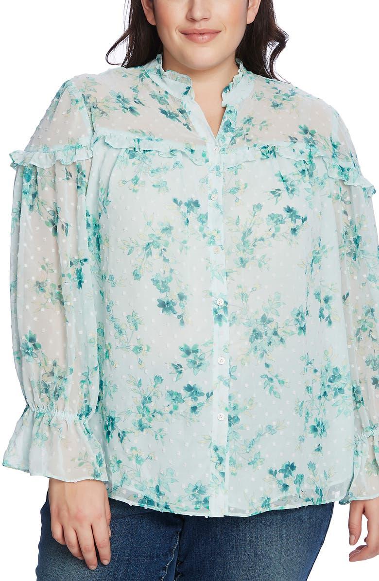 CECE Breezy Bouquet Clip Dot Long Sleeve Top, Main, color, COOL AQUA