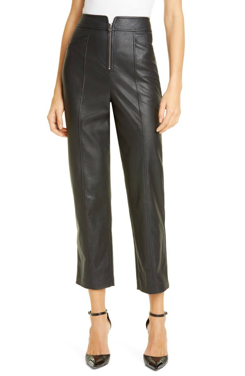 REBECCA TAYLOR Faux Leather Pants, Main, color, BLACK