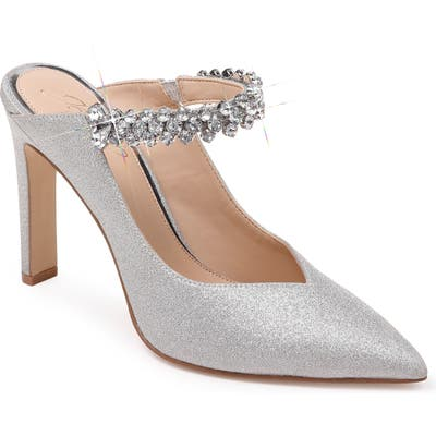 Jewel Badgley Mischka Stella Crystal Mule Pump- Metallic