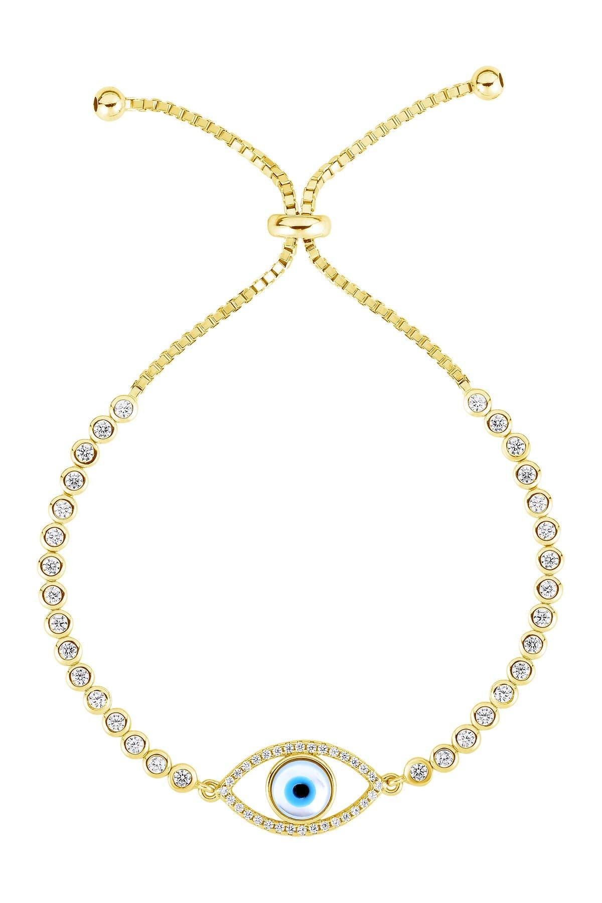 Sphera Milano 14K Yellow Gold Plated Sterling Silver Evil Eye Tennis Bracelet at Nordstrom Rack
