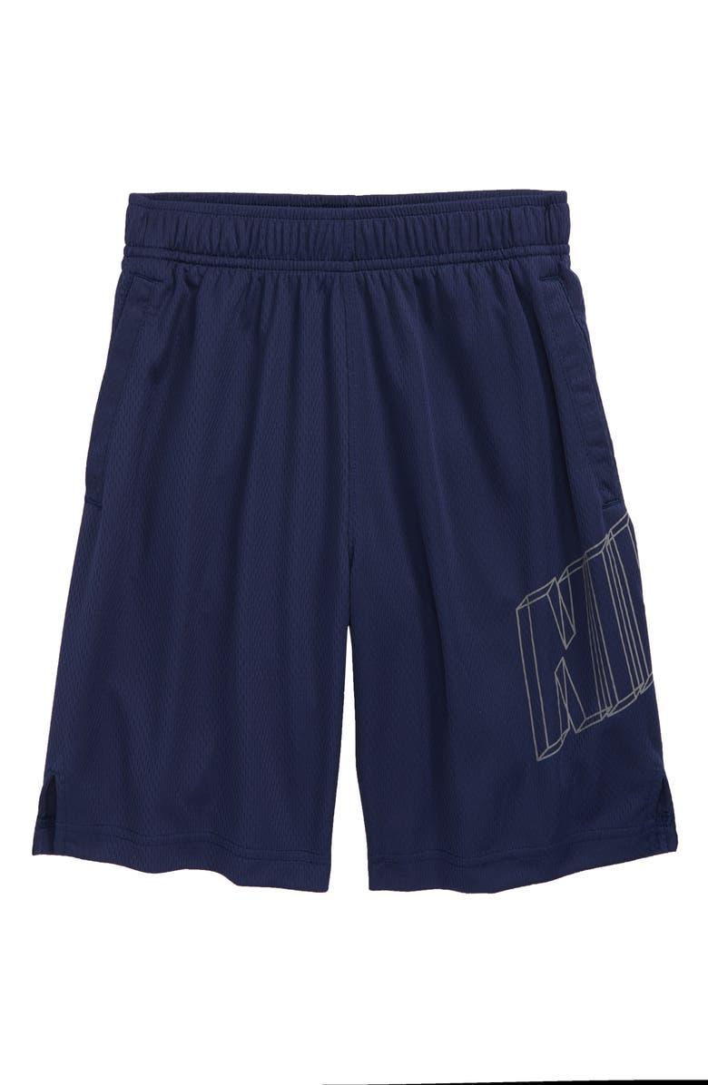 NIKE Dry GFX Athletic Shorts, Main, color, MIDNIGHT NAVY