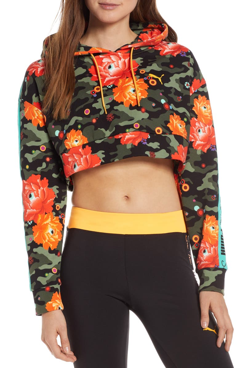 PUMA x Sue Tsai Floral Crop Hoodie, Main, color, 001