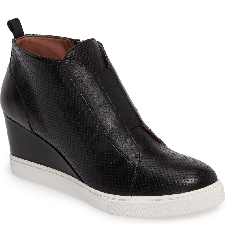LINEA PAOLO Felicia Wedge Bootie, Main, color, BLACK PERF NAPPA