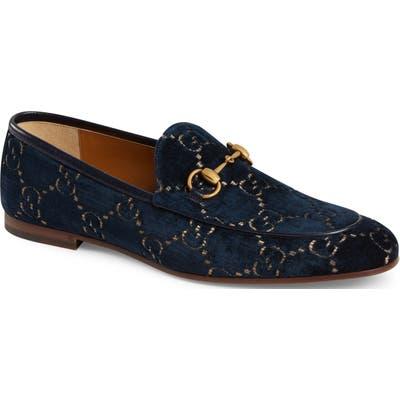 Gucci Jordaan Gg Velvet Loafer, Blue